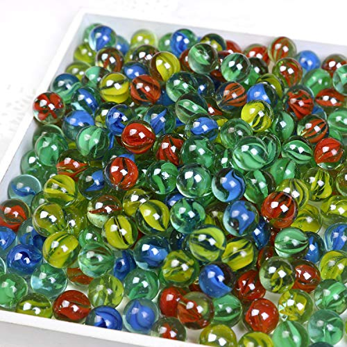CHU KE Marbles Cats Eyes Glass Marble / Sling Shot Ammo 500 pcs Size is Approximately 5/8quot。1 inch Green Shooter 10 pcs