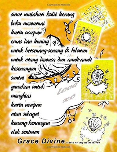 sinar matahari kulit kerang buku mewarnai kartu ucapan emas dan kuning untuk bersenang-senang & hiburan untuk orang dewasa dan anak-anak kesenangan ... seniman Grace Divine (Indonesian Edition)