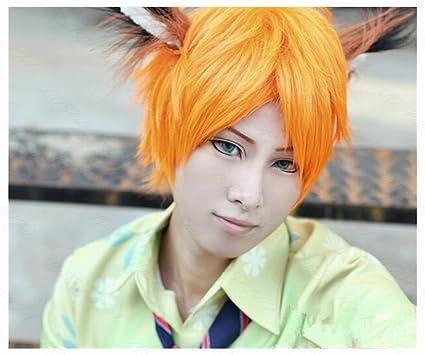 COSPLAZA Cosplay peluca – Naranja pelo corto masculino fiesta de Halloween full