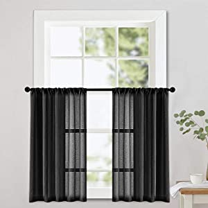 MRTREES Sheer Tier Curtains 24 inches Long Black Kitchen Tiers Bathroom Small Short Curtain Panels Transparent Light Filtering Cafe Curtains Voile Window Treatment Rod Pocket 2 Panels
