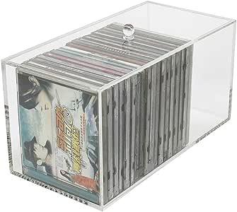 Estanterías para CD DVD Caja de almacenamiento de CD transparente, Soporte de exhibición de acrílico de cinta magnética para álbum, CD organizador de disco a prueba de polvo titular del organizador, L: