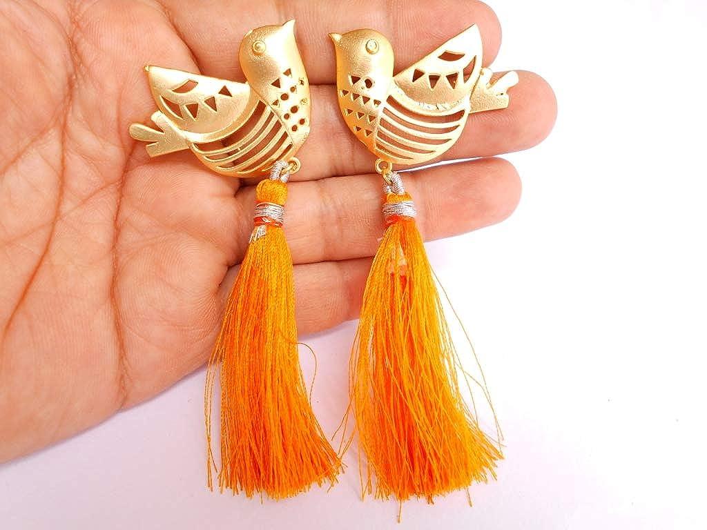 Ethnic Handmade Golden Plated Tribal Orange Tassel Earring 0609/_25