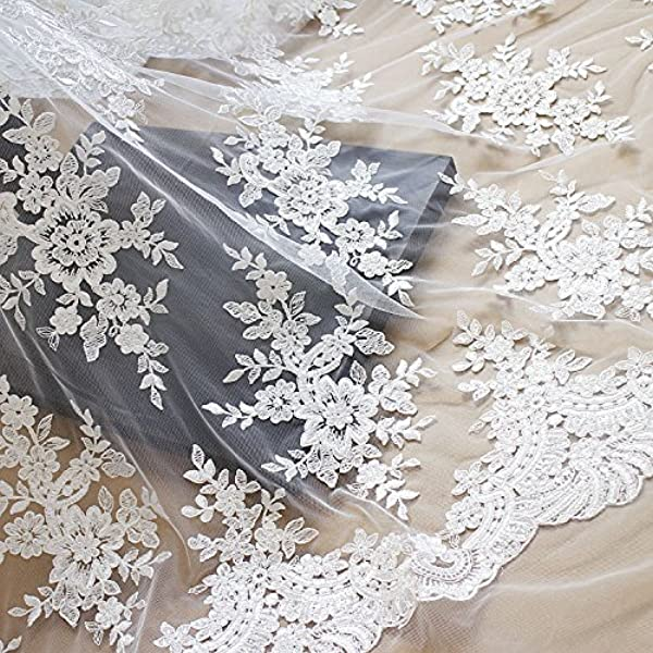 Sequin Lace White Floral Leaves Embroidered Clear Iridescent Paillette Multicolor Sequin on Mesh Fabric Sold by the Yard Gown Prom Drees