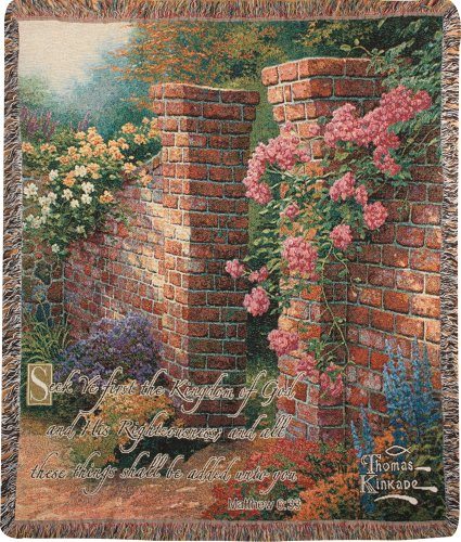 Manual Thomas Kinkade 50 x 60-Inch Tapestry Throw with Verse, Rose Garden - Roses Tapestry