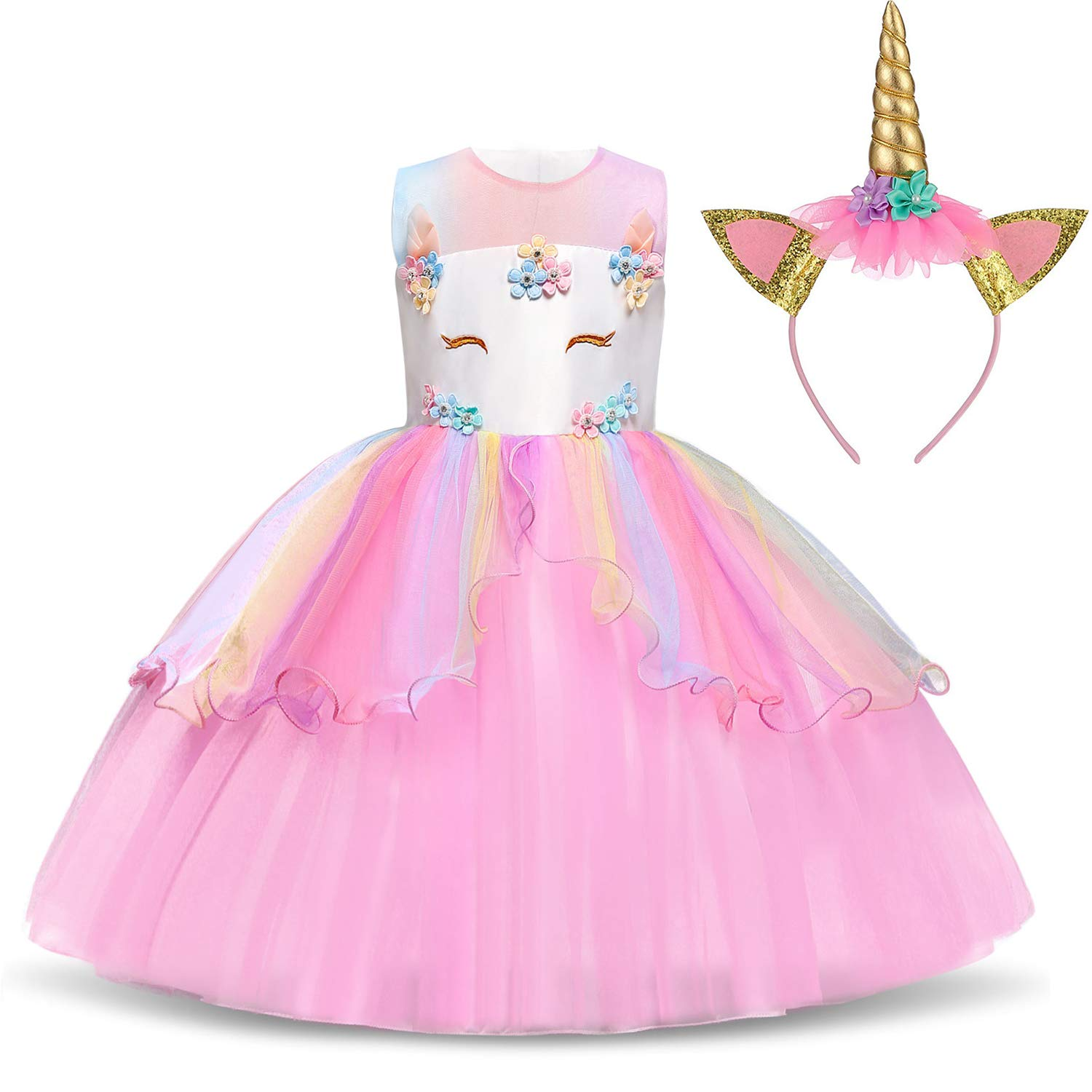 TTYAOVO Flower Girls Unicorn Costume Dress Girl Princess Pageant Party Dress 8-9 Years Pink