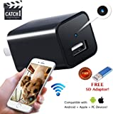 Hidden Camera WiFi Mini USB Charger Camera 1080p HD Spy Camera Wireless Remote Viewing with iPhone/Android Phone/ iPad with Motion Detection - Nanny Camera/Pet Camera - NEW 2018 Technology - by Catch1