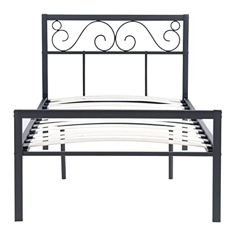 Marvelous Single Metal Bed Frame Noiseless Wood Slats Black Kids And Adults Bedstead Bases And Foundations With Headboard And Footboard With 200Kg Weight Onthecornerstone Fun Painted Chair Ideas Images Onthecornerstoneorg