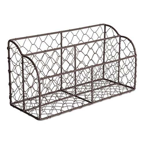 (Home Traditions Rustic Farmhouse Chicken Wire Letter Holder with Two Slots for Home or Office to Sort and Organize in-Coming or Out-Going Letters and Bills)