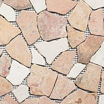 Mosaik Fliese Marmor Naturstein Beige Rot Bruch Ciot RossoCream Für BODEN  WAND BAD WC DUSCHE KÜCHE
