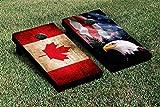 Victory Tailgate SPLIT AMERICAN EAGLE USA MOUNTAIN Version CANADA VINTAGE FLAG CORNHOLE SET