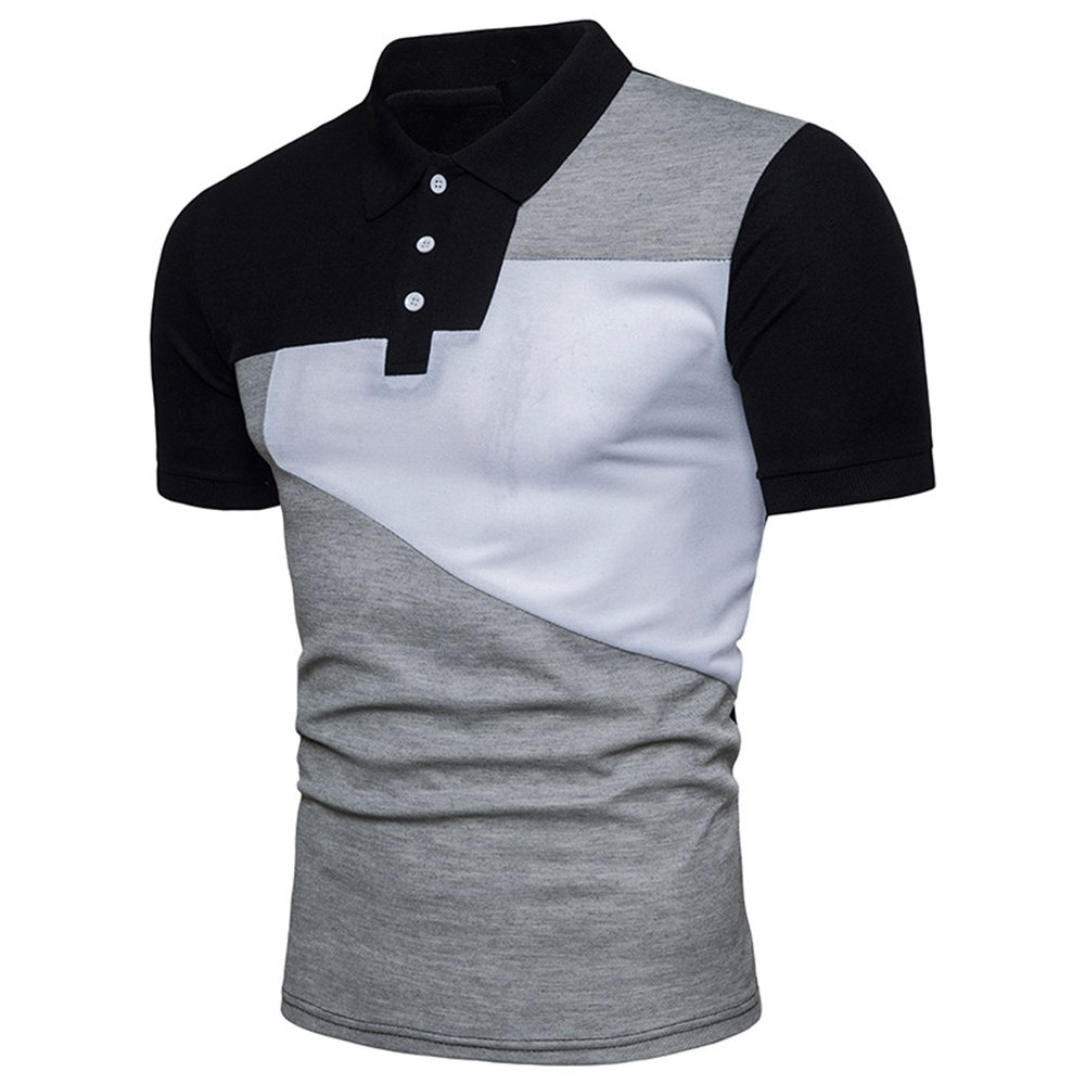 Usopu Mens Summer Casual Daily Sports Color Block Cotton Blended Fabric Short Sleeve Polo Shirt