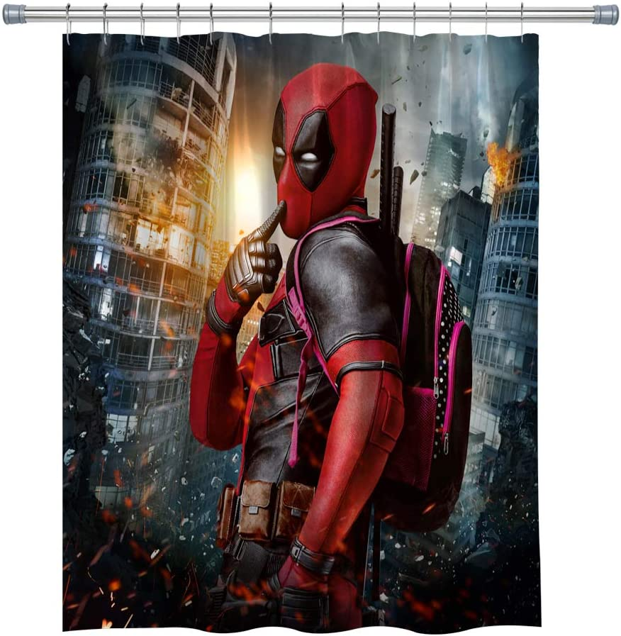 Deadpool Shower Curtains, Waterproof Polyester Fabric Bathroom Curtain, Decor Shower Curtain Set Hooks Included, 71X 71 in