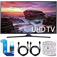 Samsung UN65MU6290FXZA Flat 64.5 LED 4K UHD 6 Series Smart TV (2017 Model) + 2x 6ft High Speed HDMI Cable + Universal Screen Cleaner + 6-Outlet Surge Adapter with Night Light