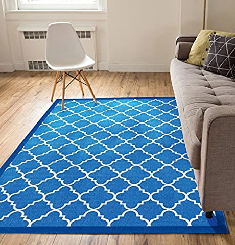 Non-Skid Slip Rubber Back Antibacterial 5x7 ( 5' x 7' ) Area Rug Dallas Moroccan Trellis Blue Modern Geometric Lattice Thin Low Pile Machine Washable Indoor Outdoor Kitchen (Carpet Washable)