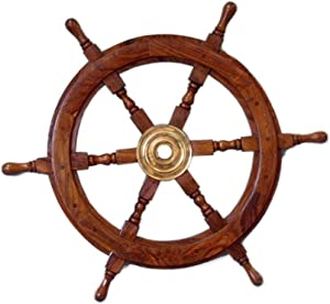 Deco 79 Wood Ship Wheel Nautical Maritime Decor, 24-Inch