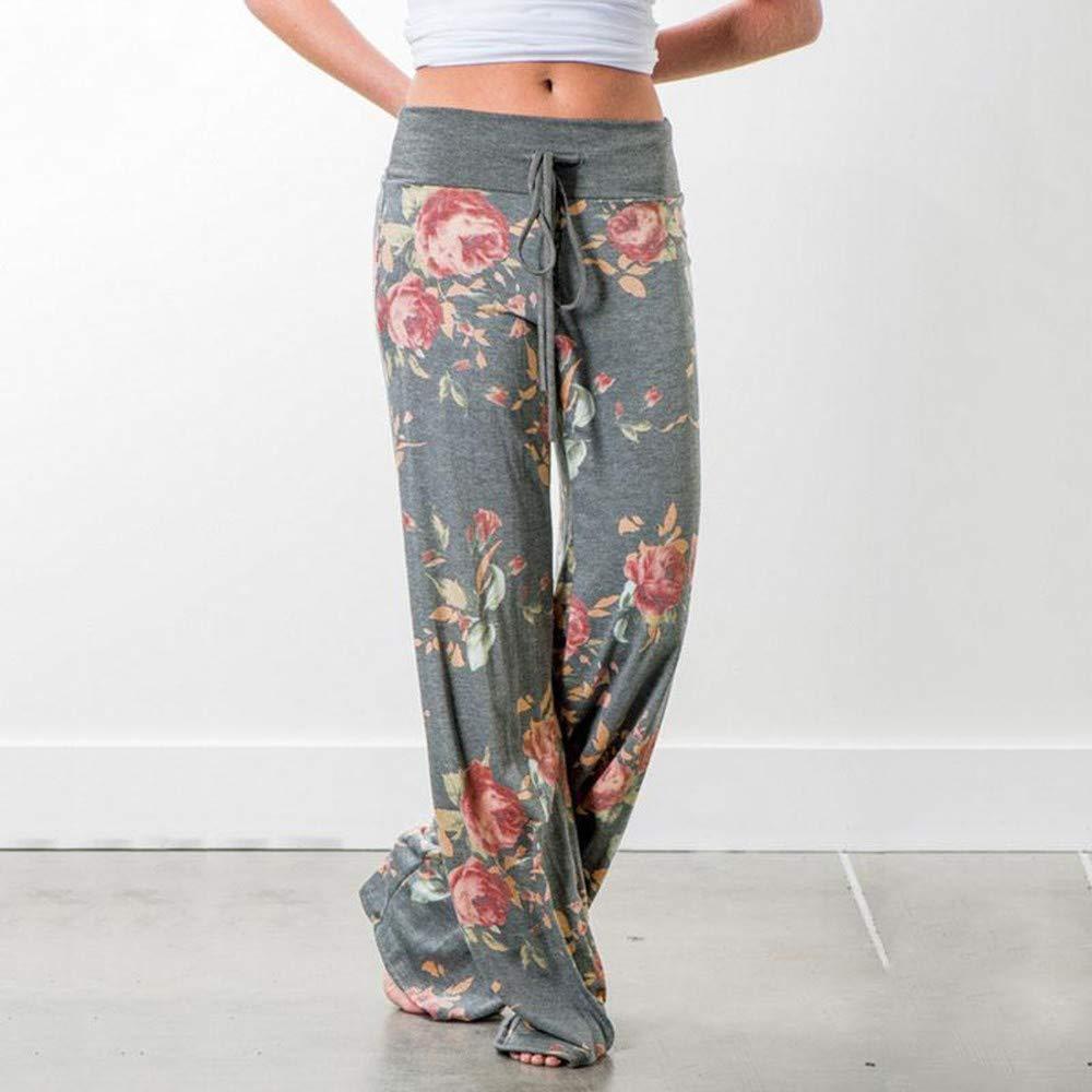 GBUIA Women Pants Womens Pants Loose Floral Print Drawstring Casual Wide Leg Pants Female Summer Sweatpants Plus Size