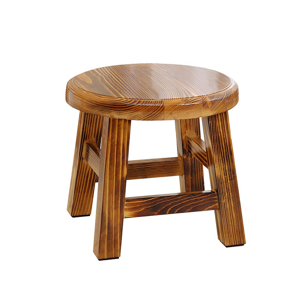 NUBAOgy Wooden Bench Pine Stool Solid Wood Small Stool Home Shoe Bench Children's Round Stool Living Room Bench
