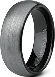 MNH Tungsten Rings for Men 8mm Wedding Band Black Plated Comfort