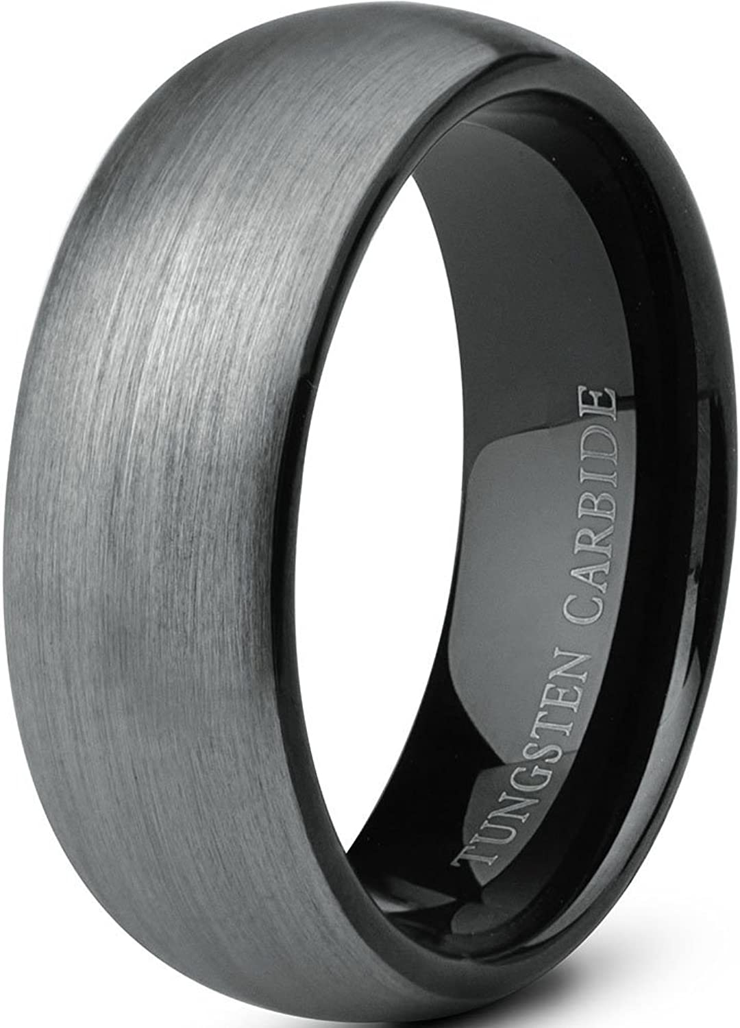Tungary Jewelry Tungsten Rings for Men Wedding Band Black Ring 8mm