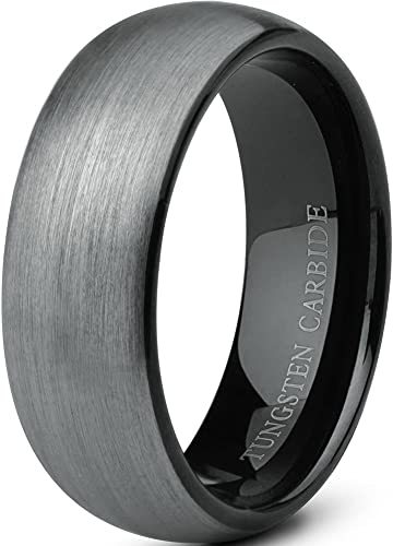 Jstyle Jewelry Tungsten Rings For Men Wedding Band Black Ring 8mm 75