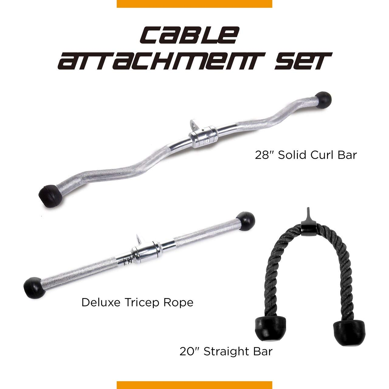 CAP Barbell 28'' Curl Bar & 20'' Straight Bar with Revolving Hanger & Triceps Press Down Rope Attachment Set