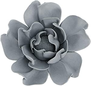 BESPORTBLE Ceramic Flower Wall Decor 3D Handmade Lotus Peony Hanging Decoration Wall Mount Backdrop Sculpture for DIY Art Home Office Wedding Party (Grey Small)