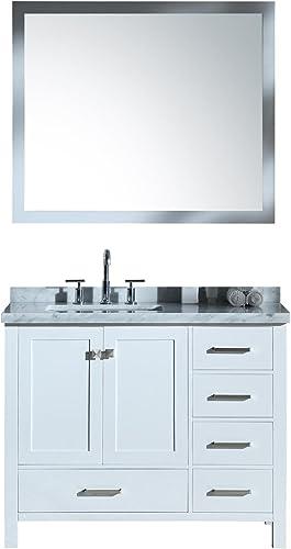 ARIEL Cambridge A043S-L-CWR-WHT 43″ Inch Single Left Offset Rectangular Sink Solid Wood White Bathroom Vanity