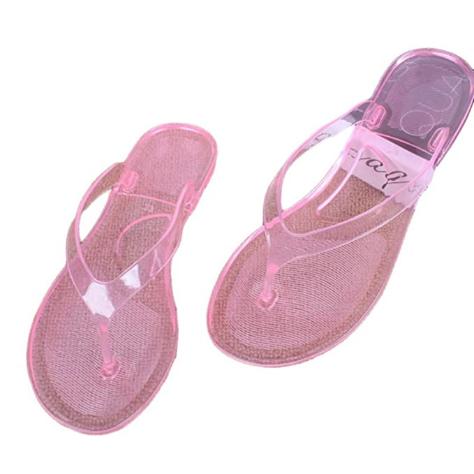 1f57813ff2a667 Amazon.com  SUNLEE Women Transparent Beach Sandals Female Cute Light Weight  Clear Flip Flops  Sports   Outdoors