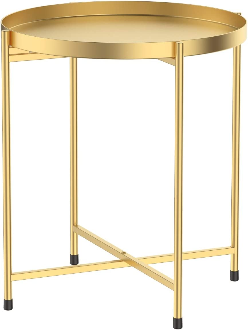 Tray Metal Round End Table,Gold Folding Small Side Table Outdoor & Indoor Accent Coffee Table for Small Spaces,Bedroom,Patio