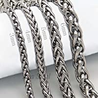 Saengthong 3/4/5/6MM 18-36 MENS Silver Stainless Steel Wheat Braided Chain Necklace (6 mm, 24)