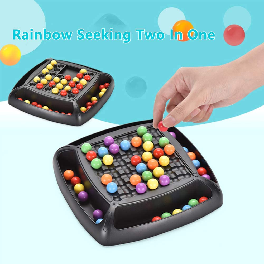 N//H Puzzle Magic Chess Toy Rainbow Ball Elimination Board Game,Logical Thinking Rainbow Ball Educational Interaction Matching Game for Kid Parent to Play Together