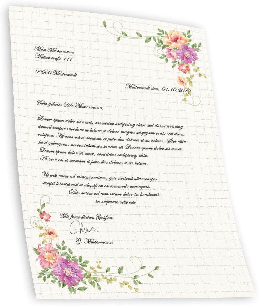 Briefpapier Blumen /& Bl/üten BLUMENBRIEF Paper-Media DIN A4 Format 100 Blatt