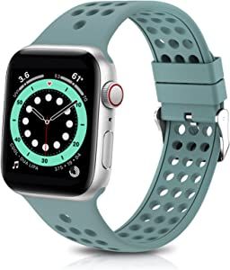 GeekSpark Sport Band Compatible for Apple Watch Bands 38mm 40mm 42mm 44mm, Breathable Soft Silicone Replacement Strap Wristband Compatible for iwatch Series 6/SE/5/4/3/2/1
