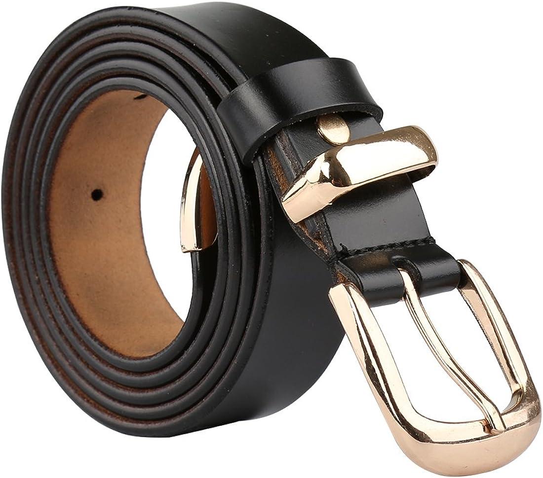 uxcell Women Skinny Belt Metal Side Imitation Leather Pin Buckle 1 1/8
