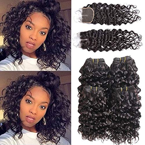 Luxnovolex Brazilian Water Wave Bundles with Closure Wet and Wavy Virgin Curly Human hair 4 Bundles With Lace Middle Part Closure Sew in Human Hair Extension 50g/Bundle(10 10 10 10 with 10) ()