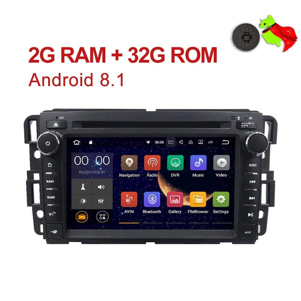 MCWAUTO 2 Din Car in Dash Radio DVD Player Compatible GMC Buick Chevy Android 8.1 OS 2GB RAM Multi-Media Player WiFi 4G Bluetooth TPMS DAB+ OBD2 and Free Rear Camera/Pre-Loaded Map