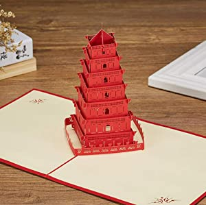3D Pop-up Greeting Card Chinese Character Building Big Wild Goose Pagoda Greeting Card, Tourist Greeting Card Birthday Card Commemorative Card Gift Card Is Suitable For Gift Giving, Send Friends, Fami
