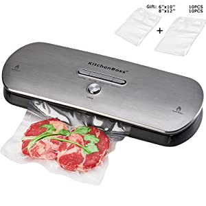 KitchenBoss Vacuum Sealer Machine for Dry & Moist Foods Preservation Automatic Vacuum Sealing System, Intelligent LED Indicator Lights,with Starter Kit Inclued 20 PCS Bags(Stainless steel)