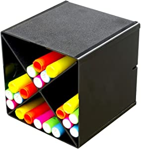 Deflecto Stackable Cube Organizer Cross Dividers, Desk and Craft Organizer, Black, Removable Dividers, 6W x 6H x 6D (350204)