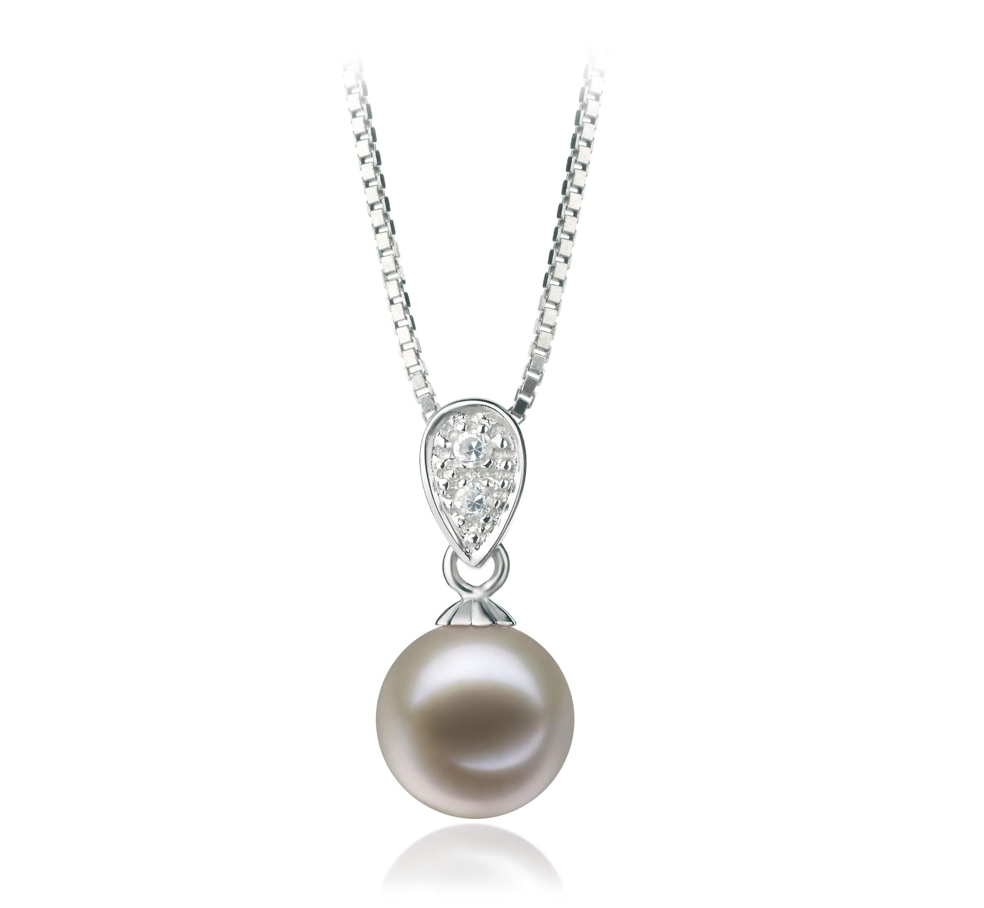 Daria White 7-8mm AAAA Quality Freshwater 925 Sterling Silver Cultured Pearl Pendant For Women by PearlsOnly