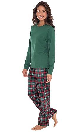 66b1cadab9 PajamaGram - Pijama de Manga Larga para Mujer - Franela - Cuadros Escoceses  - Verde  Amazon.es  Ropa y accesorios