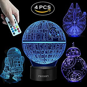 Star Wars Gifts 3D Lamp - Star Wars Toys 3D Night light,4 Patterns and 7 Color Changing with Remote or Touching,Decorating Kids Bedroom.2018 the Best Gifts for Star Wars Fans (4 Packs-Bigger-Brighter)