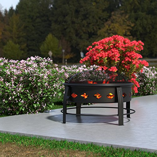 """Regal Flame Cosmic Flame 27"""" Portable Outdoor Fireplace Fire Pit For Backyard Patio Fire Bowl, Includes Safety Mesh Cover, Poker Stick, Great for Camping, Outdoor Heating, Bonfire, Picnic by Regal Flame (Image #4)"""