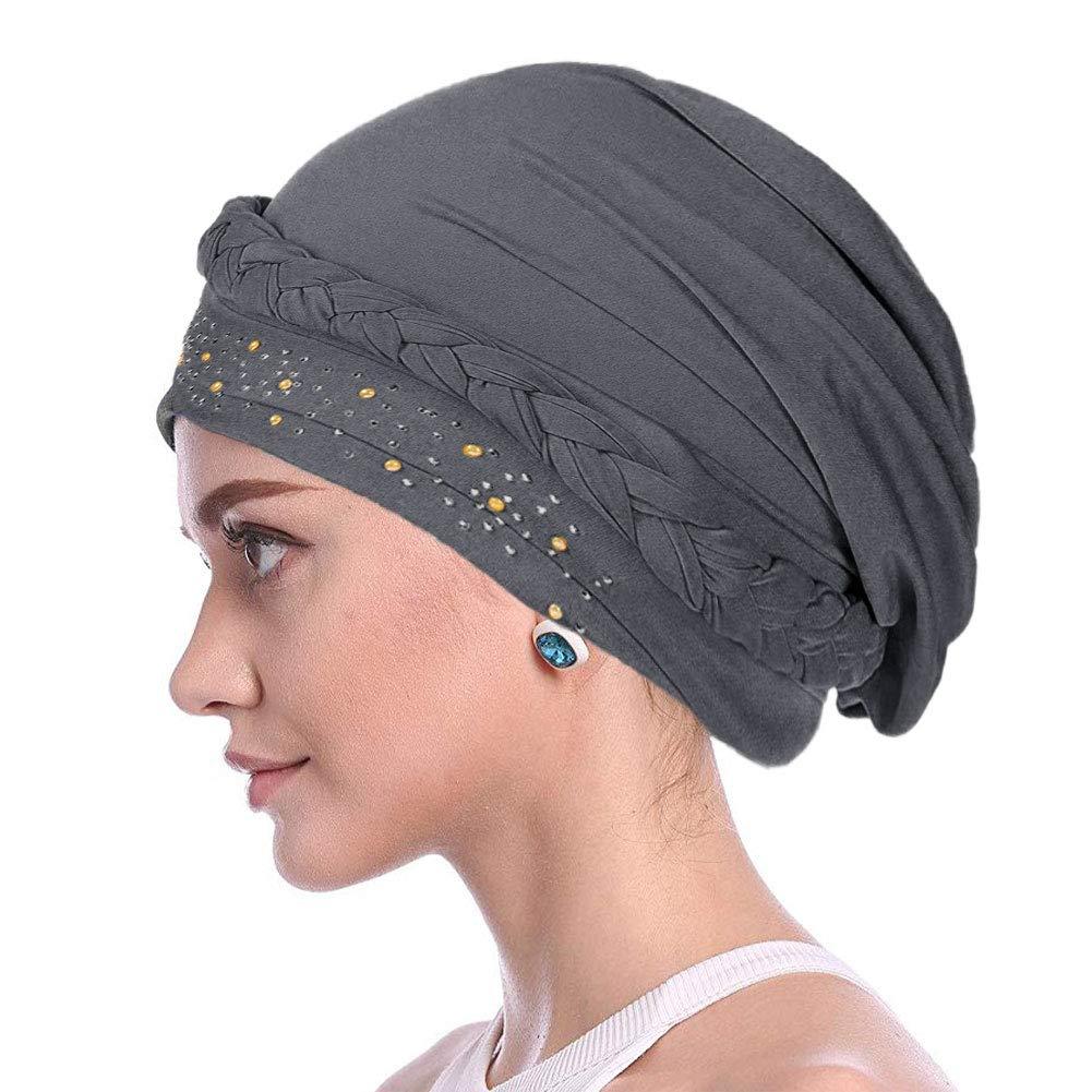 Xiangmall Cappello di Chemio Berretto Cotone da Donna con Strass per Pazienti Affetti da Cancro Perdita di Capelli