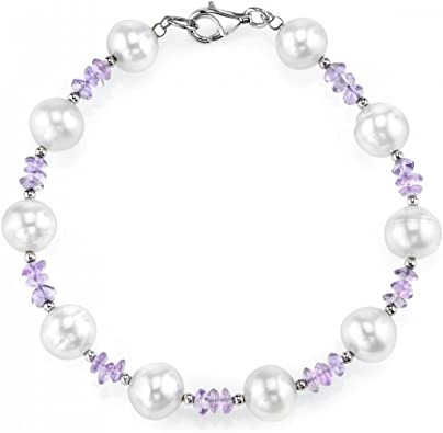 8mm White Freshwater Cultured Pearl /& Amethyst Bracelet
