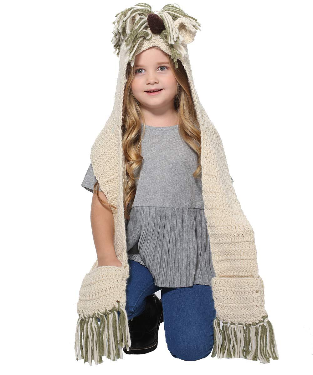 SENSERISE Winter Kids Warm Animal Hats Knitted Hood Scarf Beanies 2 Green Unicorn(3-10years Old)