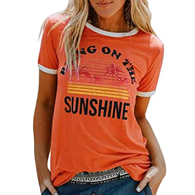 Meikosks Women's Letters Graphic Printing Blouse Short Sleeve Round Neck T Shirt Summer Tops: Clothing