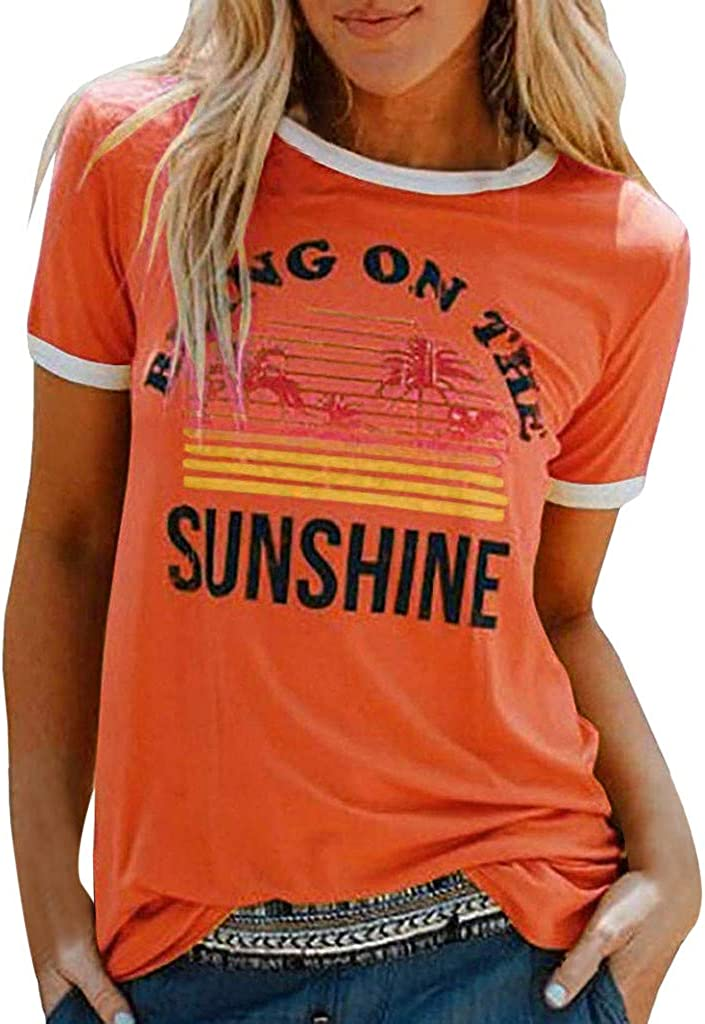 Winsummer Bring On The Sunshine Graphic Tee Shirt for Women Short Sleeve Printed T-Shirt Summer Casual T Shirts Tops