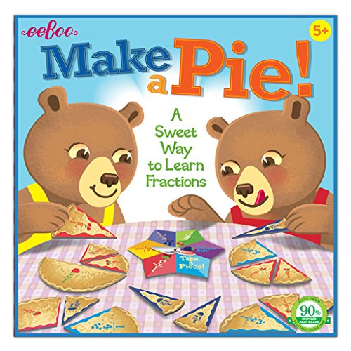 eeBoo Make a Pie Spinner Board Game for Kids, Learn Fractions