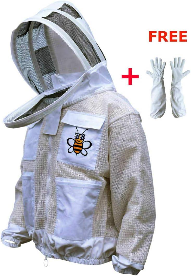 Beekeeper Beekeeping Protective Veil Suit Dress Jacket Hat White Bee Smock L3V4